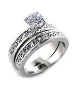 Women's 0.75 Ct Solitaire CZ Engagement Ring and Wedding Band Set Size 6 - $20.50