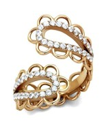 Women's Rose Gold Tone Stainless Steel Fancy Crystal Fashion Ring Size 5... - $18.79
