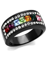 Black Stainless Steel MultiColor Channel Alternated Stone Crystal Ring S... - $15.79