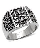 Men's Antique Tone Stainless Steel Coat of Arms Cross Ring Size 8 - 13 - $11.24