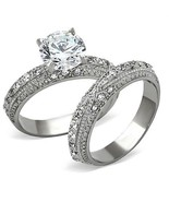 Antique Inspired 3.35 Ct Stainless Steel CZ Engagement Ring & Wedding Ba... - $19.35