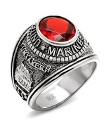 Men's Silver Stainless Steel Red CZ USA Marine Military Veteran Ring Siz... - $15.19