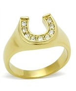 Gold Tone Good Luck Women's Horse Shoe Crystal Ring, SIZE 6 - $12.15
