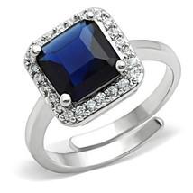 Women's Silver Tone 4.4 Carat Princess Cut Blue Stone Engagement Ring Si... - $16.54
