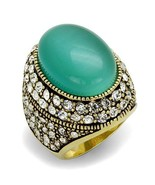 Gold Tone Oval Synthetic Cats Eye Cocktail Fashion Statement Ring Sizes ... - $26.55