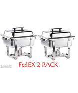 2 PACK PREMIER 4 Qt. Half Size Stainless Steel Chafer CHAFING DISH  with... - $49.80