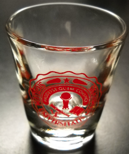 Primary image for Sigillum Universitatis Miamiensis Shot Glass Clear Glass with Red Print Logo