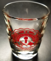 Sigillum Universitatis Miamiensis Shot Glass Clear Glass with Red Print Logo - $7.99