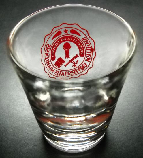Sigillum Universitatis Miamiensis Shot Glass Clear Glass with Red Print Logo