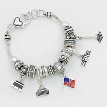Crystal Charm European Style Silver Plated Bracelet - $14.99