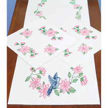 Jack Dempsey Stamped Dresser Scarf & Doilies Perle Edge-Birds - $16.87