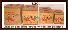 Canister Set Wood Rooster Folk Art 1960s - $20.00