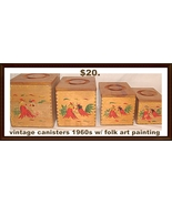 Canister Set Wood Rooster Folk Art 1960s - $20.00