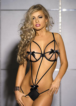541L076 Sexy string teddy, free size, black - $18.80