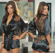 541L099 Sexy lace & polyester gown, ,g-string,free size, black - $22.80