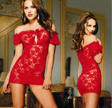 541L097 Sexy lace chemsise, open shoulder, g-string, free size, red - $22.80