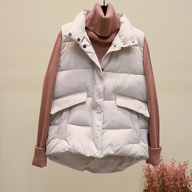 New black warm padded winter vest with pockets stand collar sleeveless waistcoat image 9