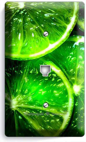 GREEN LIME SLICES PHONE TELEPHONE WALL PLATE COVER VEGETARIAN KITCHEN ROOM DECOR