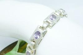 Sterling Amethyst Gemstone Rectangular Link Bracelet 7 inch - $64.00