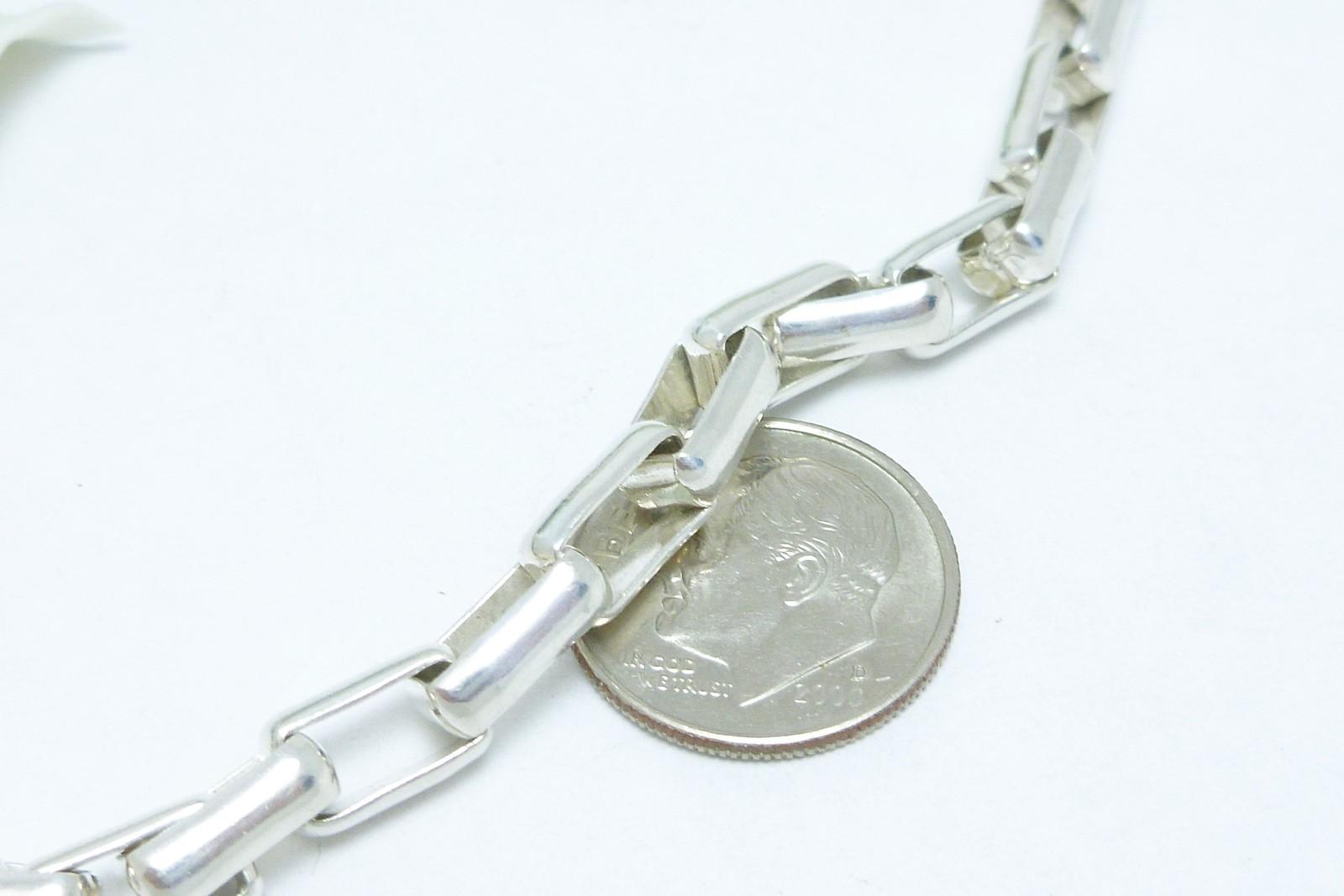 "Sterling Silver 7"" Elongated Box Link Bracelet Chain"