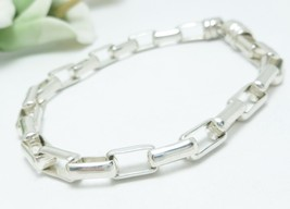 "Sterling Silver 7"" Elongated Box Link Bracelet Chain - $45.00"