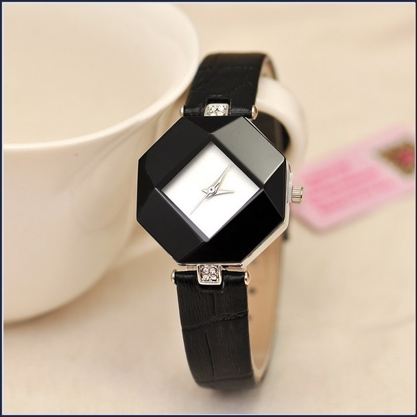black octagon square face crystal quartz analog waterproof 18k gold plated watch wristwatches. Black Bedroom Furniture Sets. Home Design Ideas