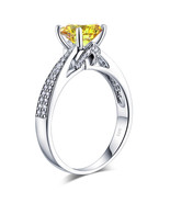925 Sterling Silver Engagement Ring 2 Ct Yellow Canary Lab Created Diamond - $109.99