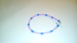 Handmade Pink Bead & Blue Crystal Bracelet - $2.69