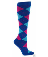 Argyle Blue & Pink Knee High Socks New Women Size 9-11 Diamonds of Color... - $11.95