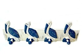 Hand Carved Pelican Towels Hooks Beach Hanger Holder Surfboard Wooden Wa... - $29.64
