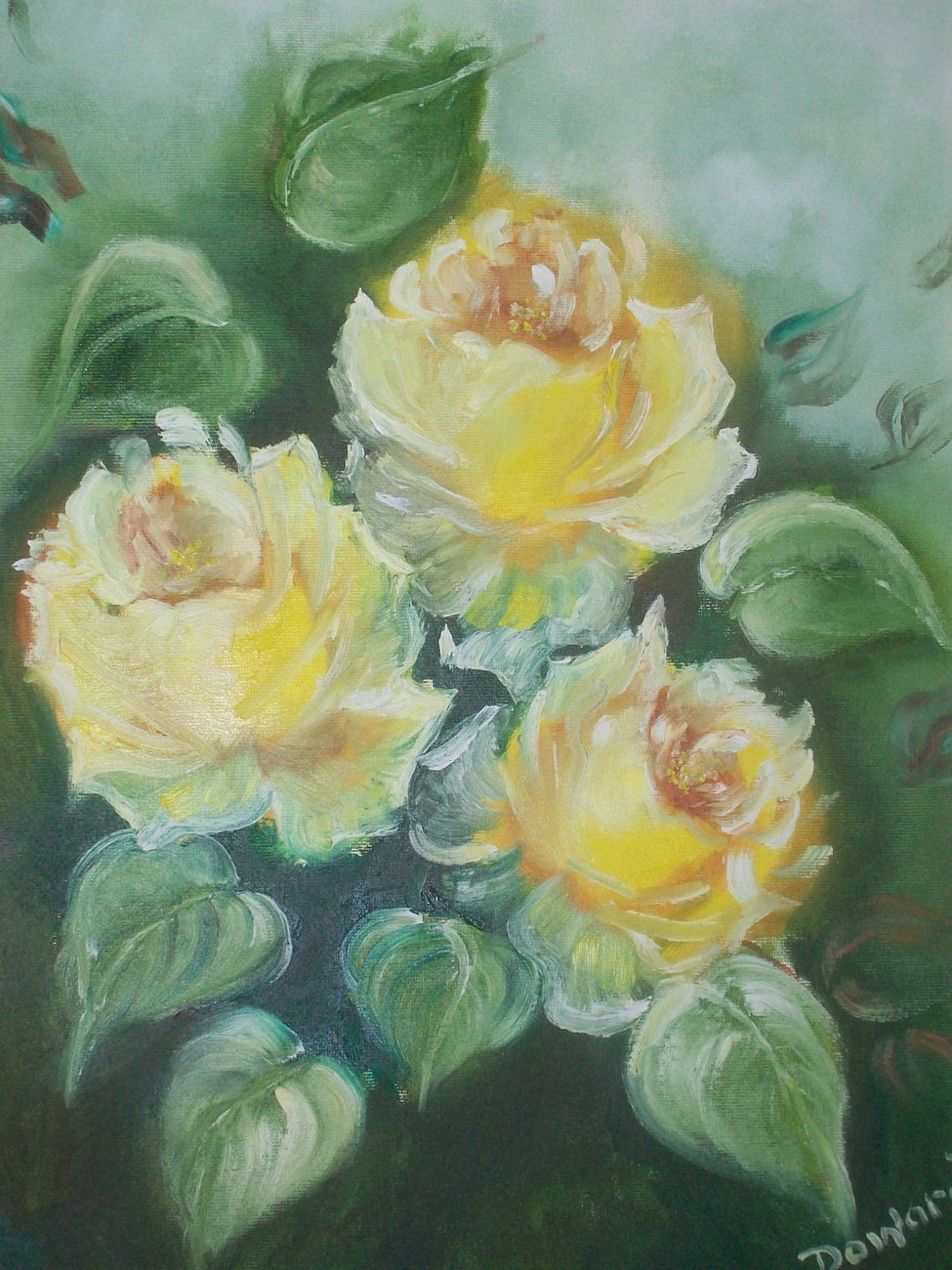 "Original 16x20 Floral Oil Painting ""Yellow Roses"""