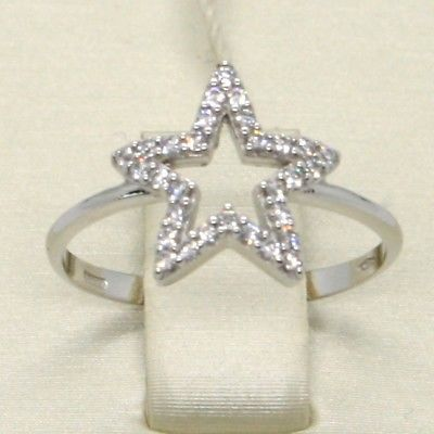 18K WHITE GOLD STAR CENTRAL ZIRCONIA RING, BRIGHT, LUMINOUS, BAND, MADE IN ITALY