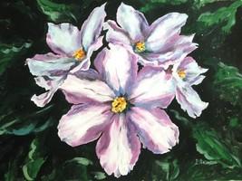 "Akimova: WHITE RODODENDRON , flower,aacrylic on paper,garden, 14""x11"" - $17.00"