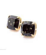 NEW Auth KATE SPADE JET BLACK GOLD Glitter Stud Square Earrings Autumn C... - $39.55