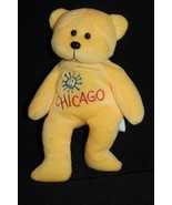 "Chicago Bright Yellow Bear Blue Sun 8"" Plush Stuffed Bean Bag Plushland Toy - $17.50"