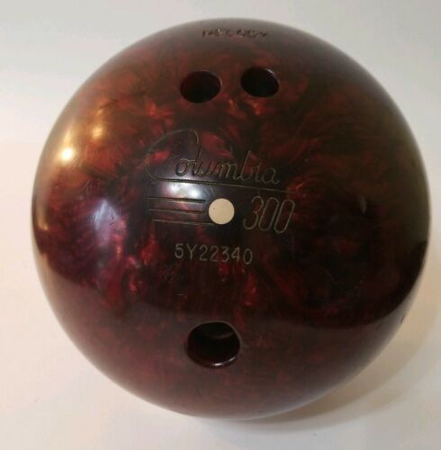 Primary image for Vintage Columbia 300 White Dot 12lb Bowling Ball Shiny Glossy Red / Drilled