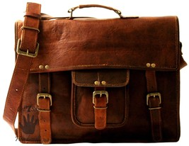 Men's Vintage Business Genuine Leather Messenger Shoulder Briefcase Bag Brown - $62.21