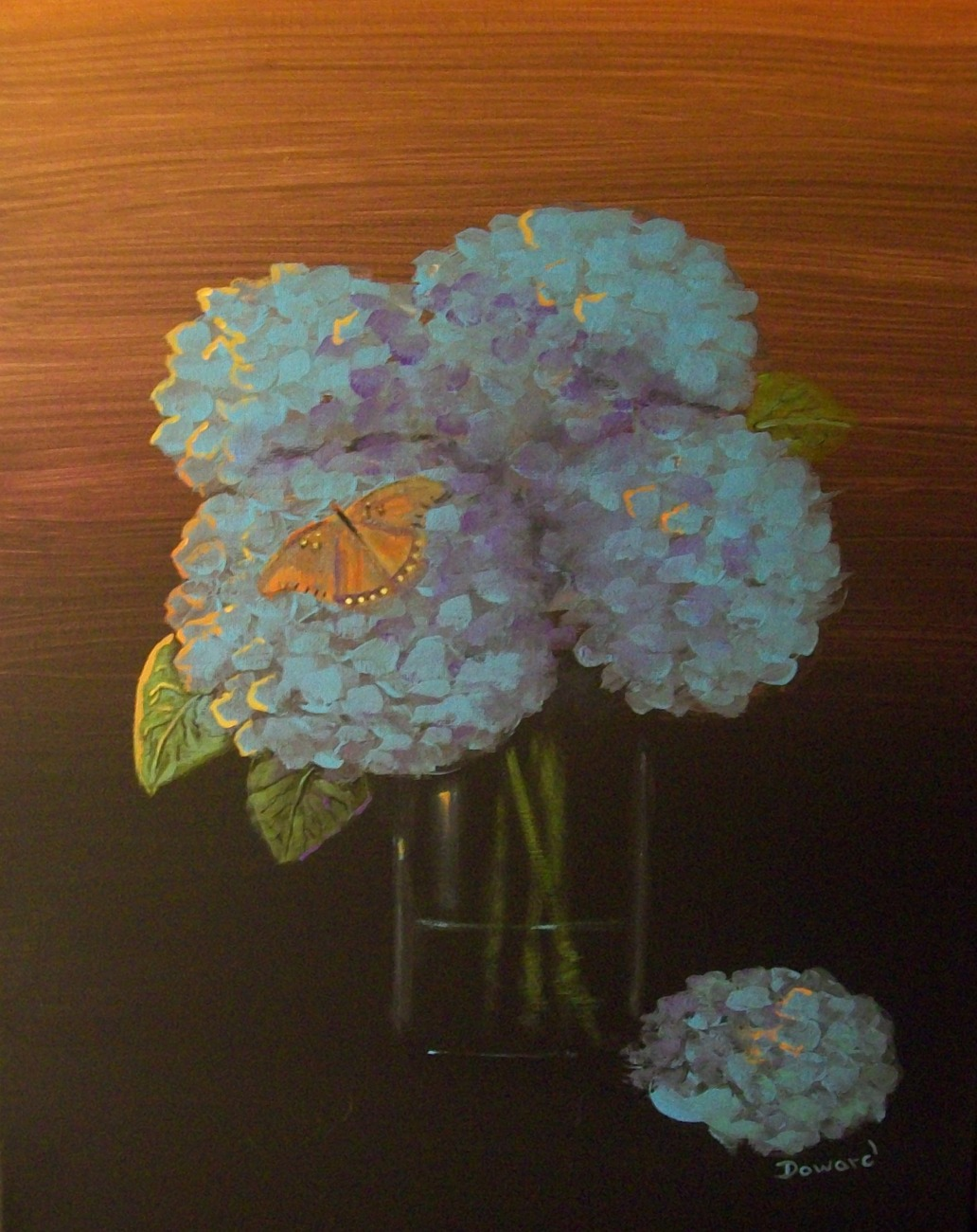 "Modern Contemporary Floral Canvas Print ""Hydrangeas"""