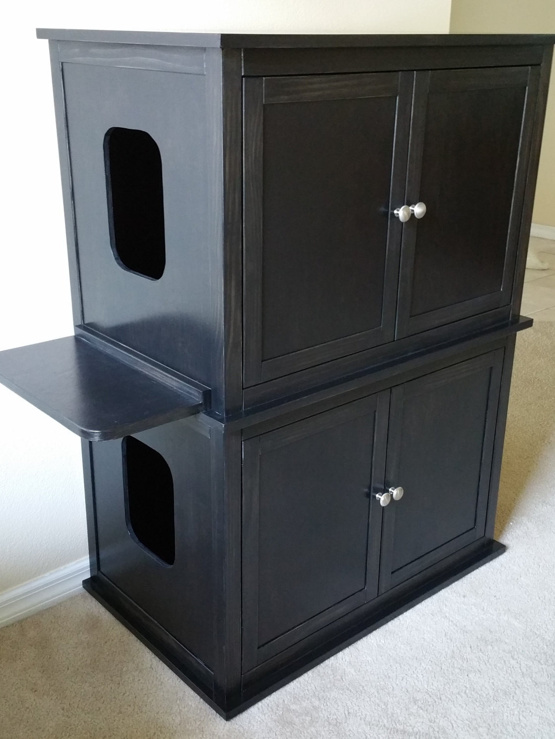 Stacked Double Hand Made In Usa Wood Cat Litter Box Cabinet Smooth Sides Furniture Scratchers