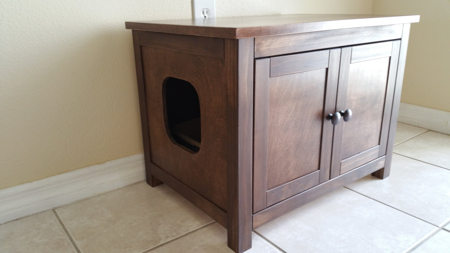 Large Odor Free Custom Hand Made In Usa Wood Cat Litter Box Cabinet With Hing Furniture