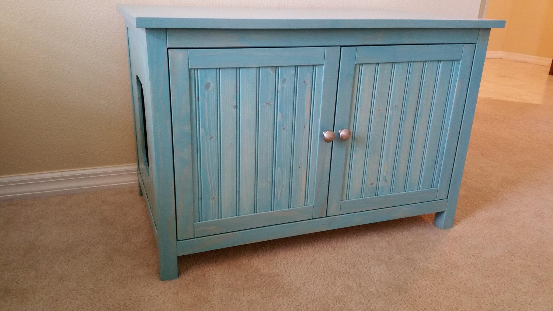 Aqua Large Odor Free Custom Hand Made In Usa Wood Cat Litter Box Cabinet Furniture