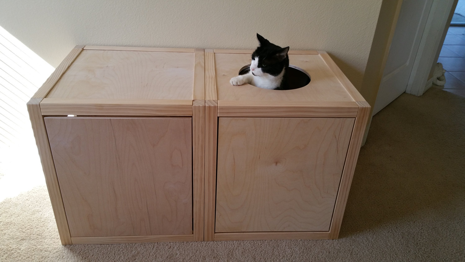 Cat litter box cabinets mat w top opening