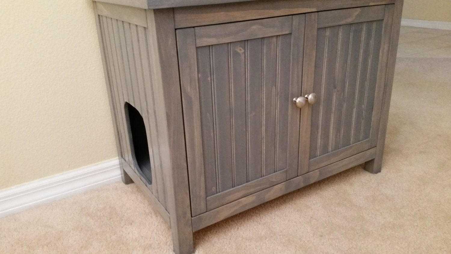 odor free custom hand made in usa cat litter box cabinet