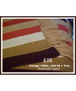 Vintage Handmade Afghan 1950-s 60s 40 X 68 - $38.00