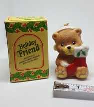 Vintage Christmas Bear Ornament Holiday Friend Bisque Porcelain Bell - $14.80