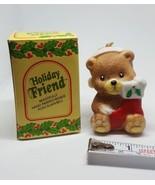 Vintage Christmas Bear Ornament Holiday Friend Bisque Porcelain Bell - $13.95