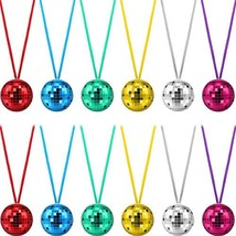 12 Pieces Assorted Color Disco Ball Necklaces 70s Disco Party Necklaces for - $19.21