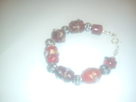 Artisan Crafted Red Lampwork Glass Beaded Bracelet - $9.99