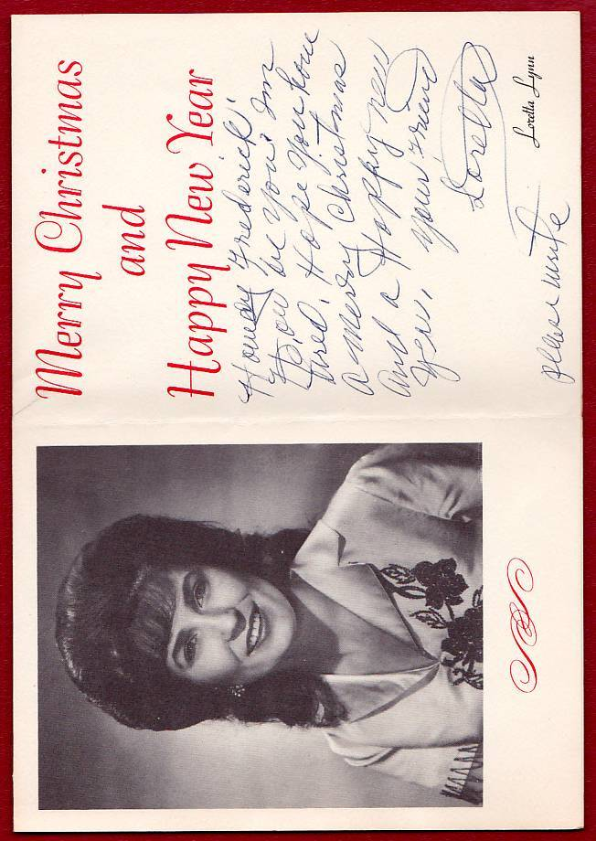 LORETTA LYNN ORIGINAL AUTOGRAPH SIGNED PHOTO CHRISTMAS CARD