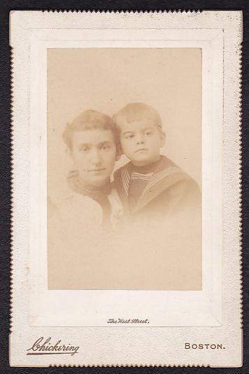 POLITICAL CARTOONIST KIRKLAND HART DAY & MOTHER CABINET CARD PHOTO - Boston, MA